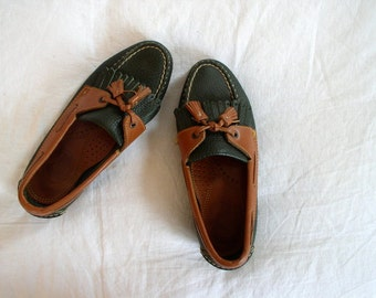 Vintage 1980's Dooney & Bourke Deck Shoes / 80's Prep Boat Shoes / Dark Green and British Tan Leather Loafers