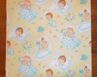 2 Vintage 1950's New Baby Wrapping Papers - Vintage Baby Infant Gift Wrap - New Baby Boy Baby Girl Baby Shower Wrapping Baby - Baby Shower