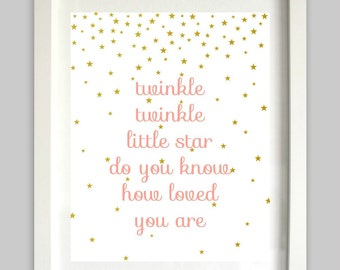 Twinkle Twinkle Little Star Do You Know How Loved You Are // Star Art // Nursery Rhyme // Coral and Gold // Girl Nursery Art