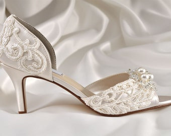 "Wedding Shoes -  Wedding Lace Shoes- 2 1/2"" Heels- Peep Toes- Swarovski Crystals and Pearls - Bridal Shoes, Custom Dyed Colors, The Abigale"