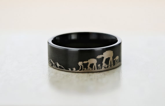 Engraved Star Wars Battle of the Hoth ATAT ATST Black Tungsten Ring Flat and Polished - 4mm to 12mm Available - Lifetime Size Exchanges