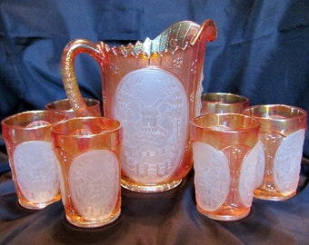 Carnival Glass Pitcher and Tumblers by Imperial Glass / Imperial Glass Windmill Carnival Glass Water Set