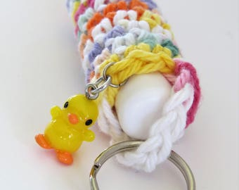Lip Balm / Chapstick Case Keychain with Duck Charm, Chapstick Included