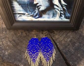 Starry Night 24K Gold dipped Star earrings Beaded Earrings Native American Earrings Fringe Earrings Seed Bead Earrings Boho Earrings