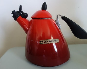 LE CREUSET Red and Black Kettle Rare French Design not sold in US