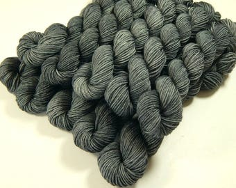 Mini Skeins, Hand Dyed Yarn, Sock Weight 4 Ply Superwash Merino Wool Yarn - Pewter - Indie Fingering Knitting Sock Yarn, Tonal Gray Grey