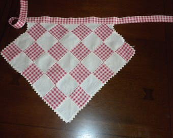 vintage child's half apron red white gingham patchwork cotton rickrack trim
