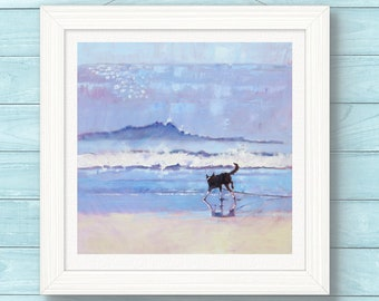 "Art Print.  Border Collie Dog Grace Encounters a Wave .  Open Edition Print of Original Impressionist Painting. 8"" x 8"" Best Seller."