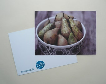 Pears, eight postcards, postcards, set, minnievoss, analog photography, offset printing, postcard, postcard, pear