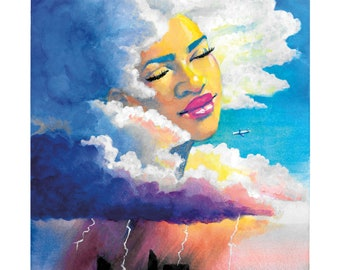 STUNNER Art Print- Watercolor, Gouache, and Acrylic Portrait Painting