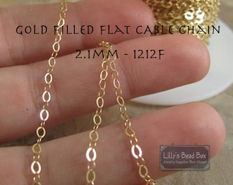10 Feet of Gold Filled Flattened 2.1mm Cable Chain, Discounted Listing, Gold Filled Chain for Making Jewelry, Everyday Necklace (1212f)