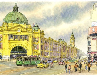 Drawing of Flinders street Station, Melbourne. A high Quality print of an ink and watercolour painting by David Coppinger.