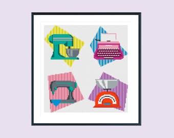 Modern cross stitch pattern, retro kitchen, instant download