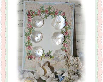 Digital Roses and Lace digital Button Cards