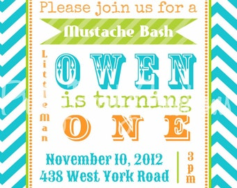 CHEVRON MUSTACHE BASH invitation - birthday or shower - you print