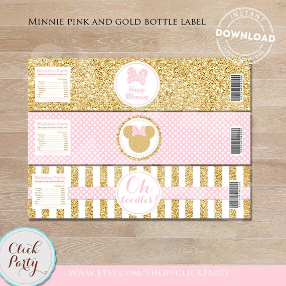 Pink and gold Minnie Water Bottle Label Gold Glitter Minnie