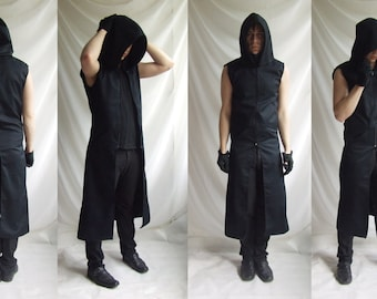 Sleeveless Reaper Hoodie (long mens black dark noir sleeveless trench fallout wasteland dystopic gothic industrial post apocalyptic fashion)