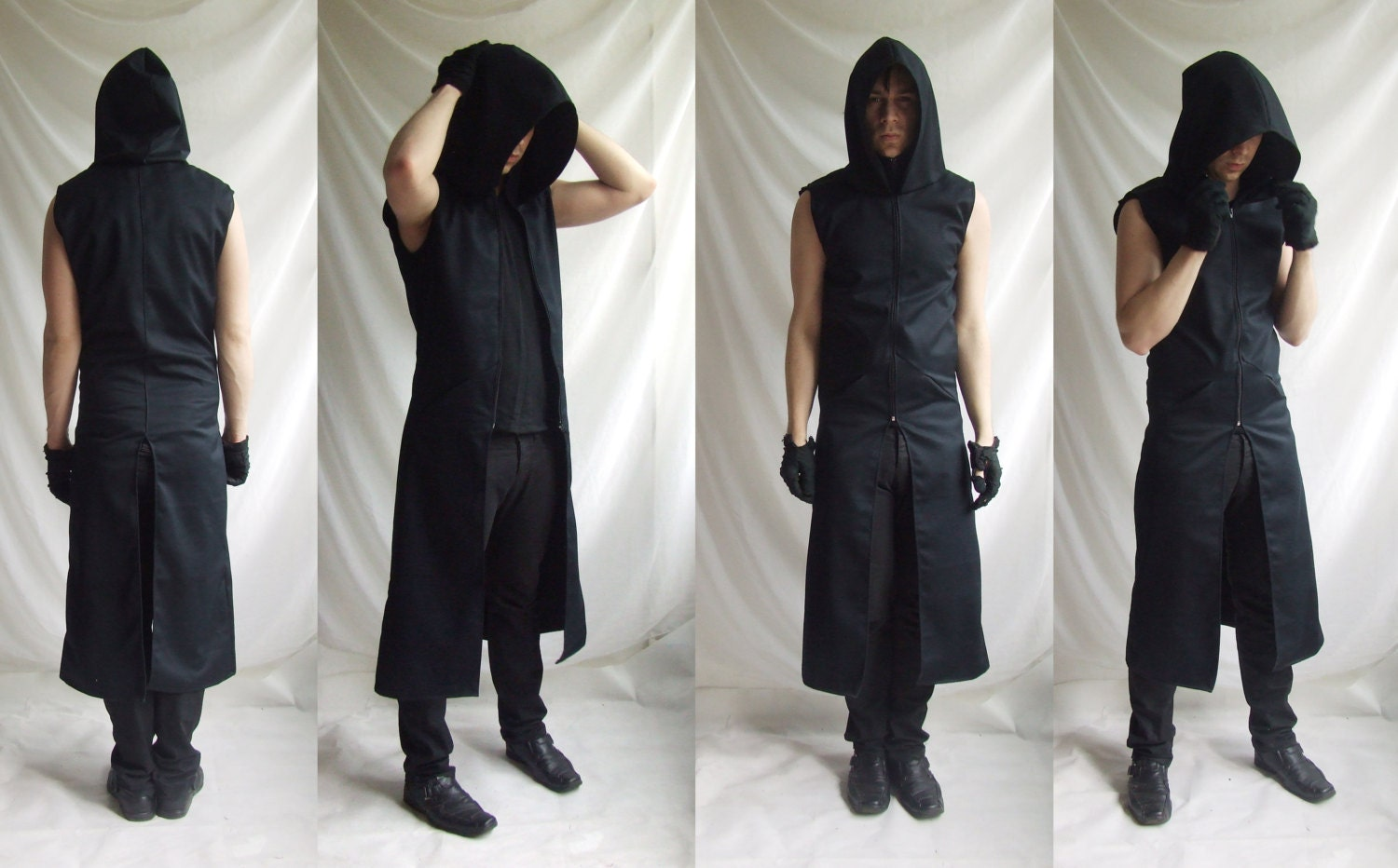 Sleeveless Reaper Hoodie (long mens black dark noir sleeveless trench fallout wasteland dystopic gothic industrial post apocalyptic fashion) NJd0bEIE