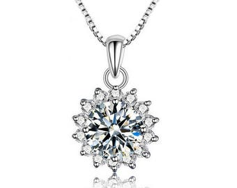 Sterling necklace with high quality cubic zirconia