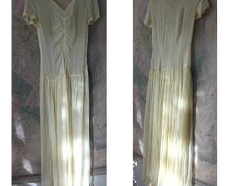 Vintage 30s Dress Women, 30s dress, Vintage clothing, Formal Dress, Crepe,Yellow, Small, 1930s Dress,