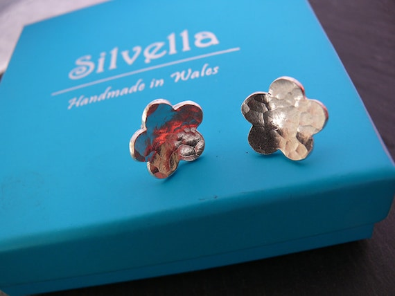 Sterling Silver Hammered Flower Studs Handmade in Wales