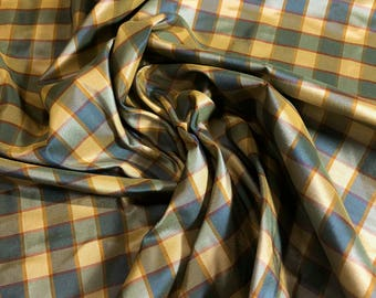 "2 yard Remnant - 100% Silk Taffeta Plaid  54""w Blue/Pink/Gold/Orange Check"