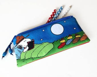 Snoopy Scout Pencil Case, Beagle Scouts Zipper Pouch, Snoopy and Woodstock Gift