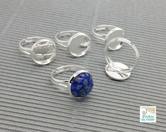 5 adjustable rings 12mm silver plated brass (ba31) cabochon