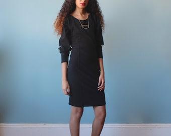 SALE black body con dress / express black long sleeve dress / 1990s / small-medium