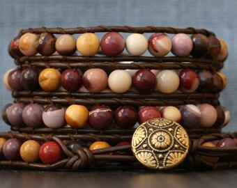 READY TO SHIP wrap bracelet- moukaite (mookaite) jasper on dark brown leather- red brown pink cream gold