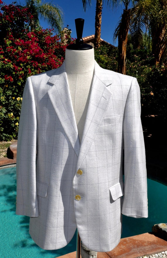 Vintage 90s Cream with Gray Grid Colored Blazer for The Slack Shoppe of Palm Desert Sz 43s