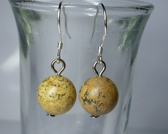 Sand stone, jasper ball earrings. Beautiful, delicate dangle earrings for any occasion. Made with semi-precious stones and silver hooks