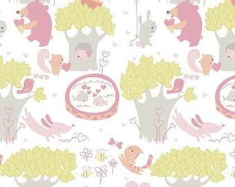 Sweethearts - Posie Woodland Animals Pink by David Walker from Free Spirit