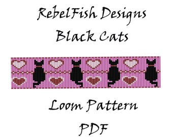 Loom Patter. Black Cats. PDF. Bead. Weaving. Bracelet. Bookmark
