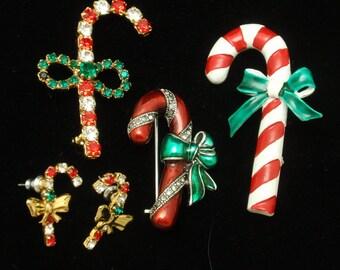 Candy Cane Pins and Earrings Vintage Enamel Rhinestones
