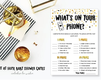 What's on Your Phone? Baby Shower Game. Instant Download. Printable Baby Shower Gender Neutral Game. Gold and Black.