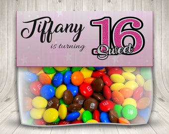 Sweet Sixteen Treat Bag Topper, Sweet 16 Printable, 16th Birthday, Sweet 16 Gift Ideas, Sweet 16 Birthday Party, Teen Birthday, Girl