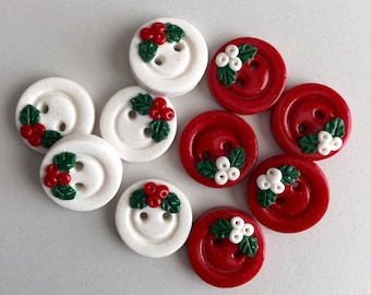 Buttons Handmade Polymer Clay Christmas Holly Holiday Glitter Red and White Buttons  5
