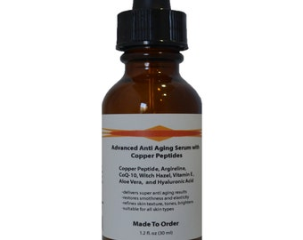 Advanced Anti Aging Serum with Copper Peptide(GHK-Cu) ,Argireline and Hyaluronic Acid 1.2 oz