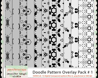 Instant Download - Set of 12 digital paper overlays/templates - Doodle patterns overlay set 1 - CU4CU ok