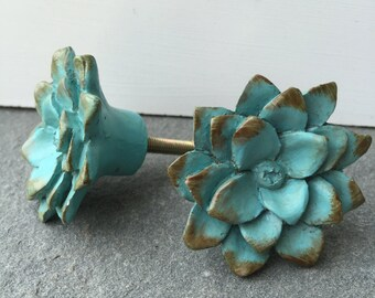 Knobs/ Flower Knobs/ Blue Knobs/ Dresser Decor/ Fixtures / Home and Garden Decor/ Set of 2 knobs