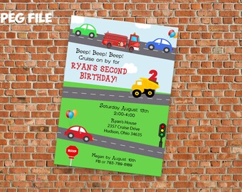 Transportation/Car/ Truck Invitation - Personalized Digital File