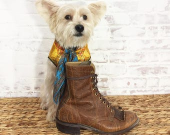 Vintage Leather BRAHMA Roper Boots || Mens Rugged Southwestern Boots || Cognac Honey Brown || Mens Size 7.5 Or Ladies 9 To 9.5