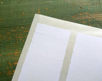 "CLEARANCE: 400 Recycled White Mini Rectangle Stickers, 1.75"" x 0.5"" (44.45mm x 12.7mm) labels, blank rectangular planner stickers (5 sheets)"