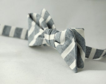 Men's Bow Tie – White and Light Blue Striped Cotton Chambray Bowtie