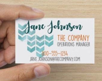 Watercolor Blue Chevron Geometric Pattern Business Card Layout - Customizable