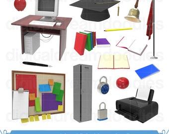 School Clipart, School Clip Art, Classroom Clipart, Room Printer Graphic, Student Image, Class Books, Bell Scrapbook, Digital Download