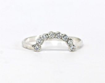 Ring Diamond Half Halo Circle Ring Enhancer Rose Gold White Gold Yellow Gold Halo Ring Half Circle Ring Sterling Silver Enhancer Ring Guard