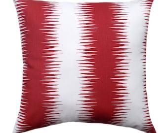Premier Prints Jiri Carmine Red Ikat Stripe Wavelength Print Home Decor Decorative Throw Pillow Cover