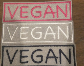 Custom Vegan embroidered iron on patch